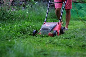 Mann mäht Rasen mit einem Mulchmäher